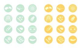 Εικονίδια περιγραφής των γυαλιών (κιτρινοπράσινο πορτοκάλι) Στοκ Φωτογραφία