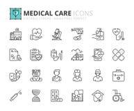 Εικονίδια περιλήψεων για το νοσοκομείο και τη ιατρική φροντίδα ελεύθερη απεικόνιση δικαιώματος