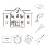 Εικονίδια περιλήψεων σχολείου και εκπαίδευσης στην καθορισμένη συλλογή για το σχέδιο Απόθεμα κολλεγίου, εξοπλισμού και διανυσματι διανυσματική απεικόνιση