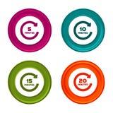 εικονίδια περιστροφής 5, 10, 15 και 20 λεπτών Σύμβολα χρονομέτρων Ζωηρόχρωμο κουμπί Ιστού με το εικονίδιο στοκ εικόνες