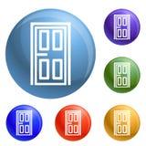Εικονίδια πορτών σπιτιών καθορισμένα διανυσματικά απεικόνιση αποθεμάτων