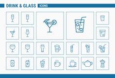Εικονίδια ποτών & γυαλιού - καθορισμένος Ιστός & κινητά 01 ελεύθερη απεικόνιση δικαιώματος