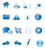 εικονίδια που τίθενται μπλε Στοκ Εικόνες