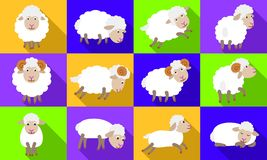 Εικονίδια προβάτων καθορισμένα, επίπεδο ύφος ελεύθερη απεικόνιση δικαιώματος