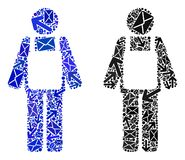 Εικονίδια προσώπων εργαζομένων μωσαϊκών κινήσεων ταχυδρομείου ελεύθερη απεικόνιση δικαιώματος