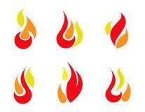 Εικονίδια πυρκαγιάς καθορισμένα διανυσματικά Στοκ Φωτογραφία