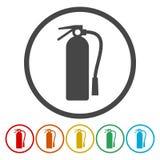 Εικονίδια πυροσβεστήρων καθορισμένα ελεύθερη απεικόνιση δικαιώματος