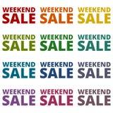 Εικονίδια πώλησης Σαββατοκύριακου καθορισμένα Στοκ εικόνες με δικαίωμα ελεύθερης χρήσης