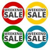 Εικονίδια πώλησης Σαββατοκύριακου καθορισμένα Στοκ Εικόνες