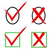 Εικονίδια σημαδιών ελέγχου που χρωματίζονται με τη βούρτσα Στοκ φωτογραφία με δικαίωμα ελεύθερης χρήσης