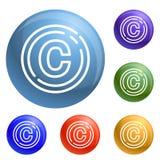 Εικονίδια σημαδιών πνευματικών δικαιωμάτων καθορισμένα διανυσματικά απεικόνιση αποθεμάτων