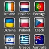 εικονίδια σημαιών που τίθενται Στοκ Εικόνα