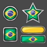 εικονίδια σημαιών συλλογής της Βραζιλίας Στοκ Εικόνες