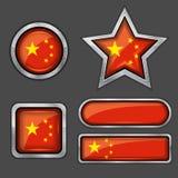 εικονίδια σημαιών συλλογής της Κίνας Στοκ Εικόνα