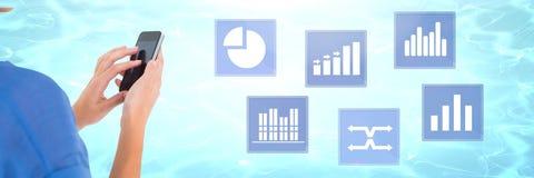 Εικονίδια στατιστικής διαγραμμάτων τηλεφώνων και επιχειρήσεων εκμετάλλευσης χεριών Στοκ Εικόνες
