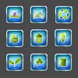 εικονίδια στοιχείων οικολογίας Στοκ Εικόνες