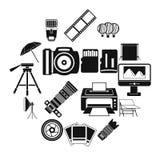Εικονίδια στούντιο φωτογραφιών καθορισμένα, απλό ύφος Στοκ φωτογραφία με δικαίωμα ελεύθερης χρήσης