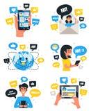 Εικονίδια συνθέσεων επικοινωνίας συνομιλίας καθορισμένα ελεύθερη απεικόνιση δικαιώματος