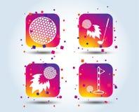 Εικονίδια σφαιρών γκολφ Βολίδα με το σύμβολο λεσχών ελεύθερη απεικόνιση δικαιώματος