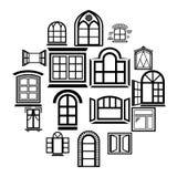 Εικονίδια σχεδίου παραθύρων καθορισμένα, απλό ύφος Στοκ Εικόνα