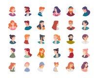 Εικονίδια σχεδιαγράμματος ειδώλων ομάδας ανθρώπων, ανδρών και γυναικών ελεύθερη απεικόνιση δικαιώματος