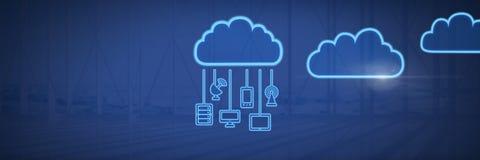 εικονίδια σύννεφων και κρεμώντας συσκευές σύνδεσης με το μπλε υπόβαθρο απεικόνιση αποθεμάτων