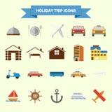 Εικονίδια ταξιδιού διακοπών απεικόνιση αποθεμάτων