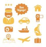 Εικονίδια ταξιδιού που τίθενται απεικόνιση αποθεμάτων