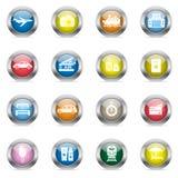 Εικονίδια ταξιδιού στους στιλπνούς κύκλους χρώματος Στοκ φωτογραφία με δικαίωμα ελεύθερης χρήσης