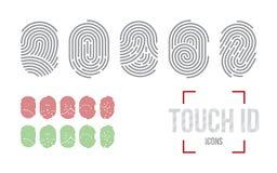 Εικονίδια ταυτότητας αφής καθορισμένα, σύστημα προσδιορισμού ανίχνευσης δακτυλικών αποτυπωμάτων Στοκ εικόνα με δικαίωμα ελεύθερης χρήσης