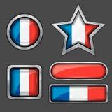 εικονίδια της Γαλλίας σημαιών συλλογής Στοκ Φωτογραφία