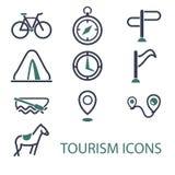 Εικονίδια τουρισμού τυπωμένων υλών Στοκ εικόνα με δικαίωμα ελεύθερης χρήσης