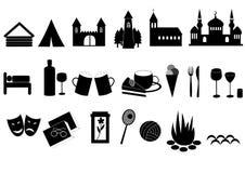 εικονίδια τουριστικά Στοκ Εικόνες