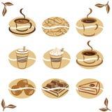 εικονίδια τροφίμων καφέ Στοκ Εικόνες