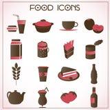 Εικονίδια τροφίμων που τίθενται Στοκ Εικόνα