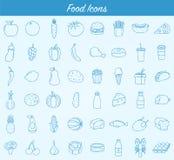 εικονίδια τροφίμων που τί&th Φρούτα, λαχανικά, γρήγορο φαγητό και κάθε μέρα τρόφιμα Ύφος εικονιδίων περιλήψεων διάνυσμα Διανυσματική απεικόνιση