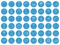 εικονίδια τροφίμων που τί&th Φρούτα, λαχανικά, γρήγορο φαγητό και κάθε μέρα τρόφιμα Ύφος εικονιδίων περιλήψεων διάνυσμα Στοκ εικόνα με δικαίωμα ελεύθερης χρήσης