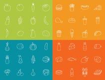 εικονίδια τροφίμων που τί&th Φρούτα, λαχανικά, γρήγορο φαγητό και κάθε μέρα τρόφιμα Ύφος εικονιδίων περιλήψεων διάνυσμα Στοκ Εικόνες