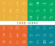 εικονίδια τροφίμων που τί&th Φρούτα, λαχανικά, γρήγορο φαγητό και κάθε μέρα τρόφιμα Ύφος εικονιδίων περιλήψεων διάνυσμα Απεικόνιση αποθεμάτων