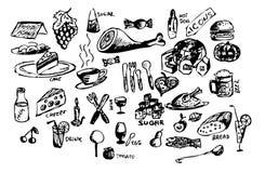 εικονίδια τροφίμων Στοκ Εικόνα