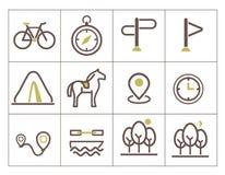 Εικονίδια τυπωμένων υλών για τον οικοτουρισμό Στοκ Εικόνες
