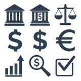 Εικονίδια των τραπεζών στο άσπρο υπόβαθρο Στοκ Εικόνα