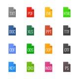 Εικονίδια τύπων αρχείου - κείμενα, πηγές και σχεδιάγραμμα σελίδων Στοκ φωτογραφία με δικαίωμα ελεύθερης χρήσης