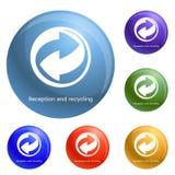 Εικονίδια υποδοχής και ανακύκλωσης καθορισμένα διανυσματικά απεικόνιση αποθεμάτων