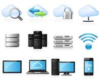 εικονίδια υπολογισμού σύννεφων Στοκ Εικόνα