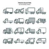 Εικονίδια φορτηγών που τίθενται στο λεπτό ύφος γραμμών απεικόνιση αποθεμάτων