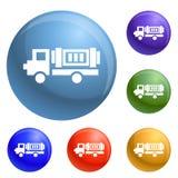 Εικονίδια φορτηγών Eco καθορισμένα διανυσματικά ελεύθερη απεικόνιση δικαιώματος