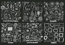 Εικονίδια φρούτων σχολικών διακοπών δέντρων πλαισίων λουλουδιών απεικόνιση αποθεμάτων