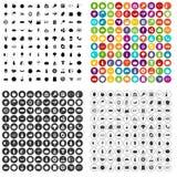 100 εικονίδια φυσικών προϊόντων καθορισμένα τη διανυσματική παραλλαγή απεικόνιση αποθεμάτων
