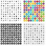 100 εικονίδια φωτισμού οδών καθορισμένα τη διανυσματική παραλλαγή Στοκ Φωτογραφίες